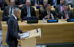 President Barack Obama hosted a Leaders' Summit on the Global Refugee Crisis on the margins of UN GA 71 Stock Images