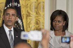 President Barack obama michelle. President Barack Obama and First Lady Michelle Obama at the east room of the White House Royalty Free Stock Image