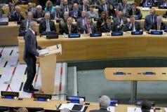 President Barack Obama ontving een Top van Leiders op de Globale Vluchtelingscrisis op de marges van UNGA 71 Stock Foto's