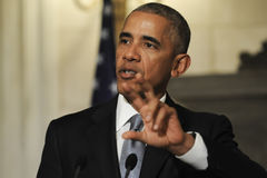 President Barack Obama speaks during a joint news conference wit Stock Photography