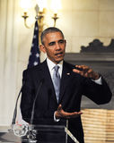 President Barack Obama speaks during a joint news conference wit Royalty Free Stock Photo