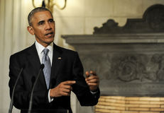 President Barack Obama speaks during a joint news conference wit Royalty Free Stock Images