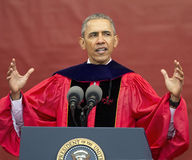 President Barack Obama speaks at 250th Anniversary Rutgers University Commencement. President Barack Obama addresses the graduating Class of 2016 at the 250th Stock Image