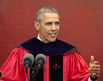 President Barack Obama speaks at 250th Anniversary Rutgers University Commencement. President Barack Obama addresses the graduating Class of 2016 at the 250th Stock Photo