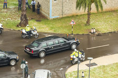 President Barak Obama leaves the African Union Commission in his. Addis Ababa - July 28: President Obama leaves the African Union Commission in his presidential Stock Image