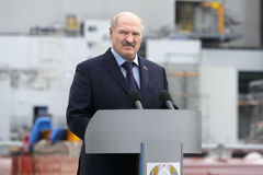 President of Belarus Alexander Lukashenko. CHERNOBYL, UKRAINE - Apr 26, 2017: President of Belarus Alexander Lukashenko take part in the events on the Stock Image