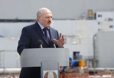 President of Belarus Alexander Lukashenko. CHERNOBYL, UKRAINE - Apr 26, 2017: President of Belarus Alexander Lukashenko take part in the events on the Stock Photo