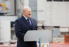 President of Belarus Alexander Lukashenko. CHERNOBYL, UKRAINE - Apr 26, 2017: President of Belarus Alexander Lukashenko take part in the events on the Stock Photography