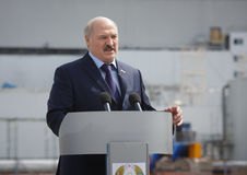 President of Belarus Alexander Lukashenko. CHERNOBYL, UKRAINE - Apr 26, 2017: President of Belarus Alexander Lukashenko take part in the events on the Royalty Free Stock Photo