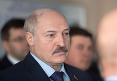 President of Belarus Alexander Lukashenko. CHERNOBYL, UKRAINE - Apr 26, 2017: President of Belarus Alexander Lukashenko take part in the events on the Stock Photos