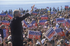 President Bill Clinton waves goodbye to crowd Stock Image