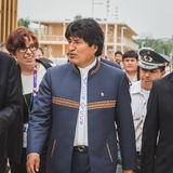 The President of Bolivia Evo Morales at Expo 2015 in Milan, Ital Royalty Free Stock Image
