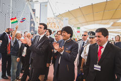 The President of Bolivia Evo Morales at Expo 2015 in Milan, Ital. MILAN, ITALY - JUNE 12: The President of Bolivia Evo Morales visitst Expo, universal exposition royalty free stock photos