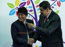 President of Bolivia Evo Morales and Venezuelan President Nicolas Maduro Royalty Free Stock Photo