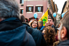 President of the chamber of deputies laura boldrini at a march in rome Royalty Free Stock Images