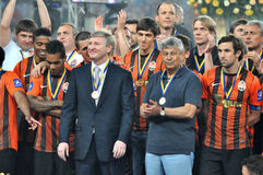 President, coach and players of Shakhtar Stock Image