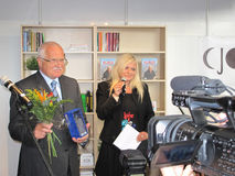 President of Czech republic Vaclav Klaus. PRAGUE - MAY 13: President of Czech republic Vaclav Klaus with prize for his bestseller book of year 2010, which won at stock photos