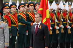 President D.Medvedev at ceremony of wreath laying Royalty Free Stock Images
