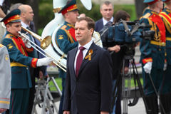 President D.Medvedev at ceremony of wreath laying Stock Photos