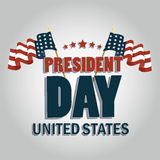 President day. A pair of american flags with some text and stars for president day Stock Photography