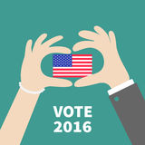 President election day 2016. Voting concept. Man Woman hand holding american flag. Isolated Green background Flat design Card. Vector illustration Stock Images