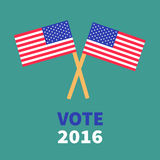 President election day 2016. Voting concept. Two crossed american flag set. Royalty Free Stock Photography
