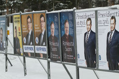 President election in Finland 2012. Outdoor posters of some of the candidates in the Finish president election 22 January 2012. Photo is taken in Oulu stock image