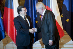 Jose Manuel Barroso and Milos Zeman Stock Images