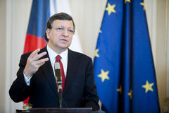 Jose Manuel Barroso. President of the European Commission Jose Manuel Barroso during press conference in Prague, April 3, 2013 stock photography
