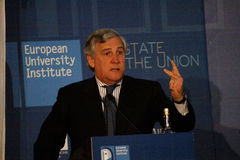 The President of the European Parliament Antonio Tajani Stock Images