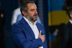 President of the Football Federation of Ukraine Andriy Pavelko. Dnipro, UKRAINE - 09 May, 2018: President of the Football Federation of Ukraine Andriy Pavelko stock photo