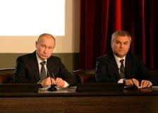 President från den ryska federationen Vladimir Putin och ordförande av den statliga Dumaen av den federala enheten av den ryska F Royaltyfri Foto