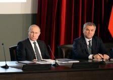 President från den ryska federationen Vladimir Putin och ordförande av den statliga Dumaen av den federala enheten av den ryska F Arkivfoton