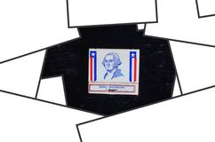 President frame. George Washington president 1st stock image