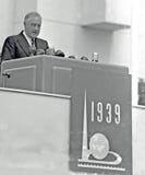 President Franklin D Roosevelt Opens världs mässa 1939 Royaltyfri Fotografi