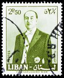 President Fuad Chehab, serie, circa 1960. MOSCOW, RUSSIA - FEBRUARY 20, 2019: A stamp printed in Lebanon shows President Fuad Chehab, serie, circa 1960 stock photo