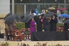 President George W. Bush, Laura Bush, former President Bill Clinton and others on stage during the grand opening ceremony of the W Stock Photo