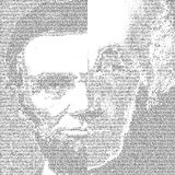 President george washington and Abraham Lincoln  in PORTRAIT made only of TEXT  background Royalty Free Stock Photo
