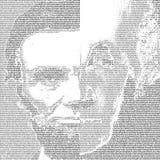 President george Washington en Abraham Lincoln in PORTRET dat slechts van TEKSTachtergrond wordt gemaakt Royalty-vrije Stock Foto