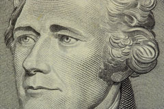 President hamilton. Face on the ten dollar bill stock images