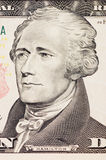 President hamilton face on the ten dollar bill Royalty Free Stock Photos