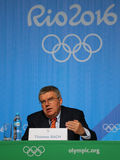 President of the International Olympic Committee Thomas Bach during press conference at Rio 2016 Olympic Games Press Center Royalty Free Stock Photo