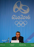 President of the International Olympic Committee Thomas Bach during press conference at Rio 2016 Olympic Games Press Center Royalty Free Stock Images