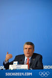 President of  International Olympic Committees Tomas Bach on a press conference Royalty Free Stock Photo