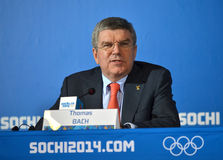 President of  International Olympic Committees Tomas Bach on a press conference Stock Image