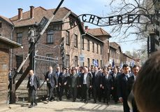 `March of the Living` at Auschwitz, Oswiecim, Poland - 12 Apr 2018,. President of Israel Reuven Rivlin and Polish President Andrzej Duda during the March of the Royalty Free Stock Photography