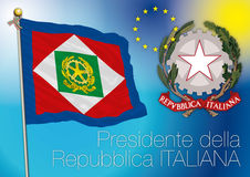 President of italian republic flag, italy. Original file president of italy flag stock illustration