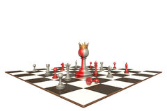 The president of a large company (chess metaphor). Chess drama on a white background isolation. In the center of a two-faced king Royalty Free Stock Photography