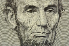 President Lincoln. Face on the five dollar bill royalty free stock image