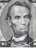 President Lincoln. Five dollar bill detail Royalty Free Stock Photo